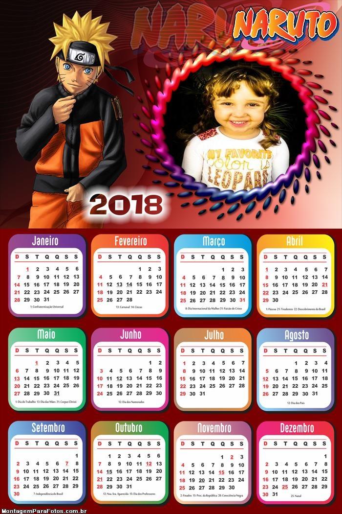 Calendário 2018 Naruto Shippuden