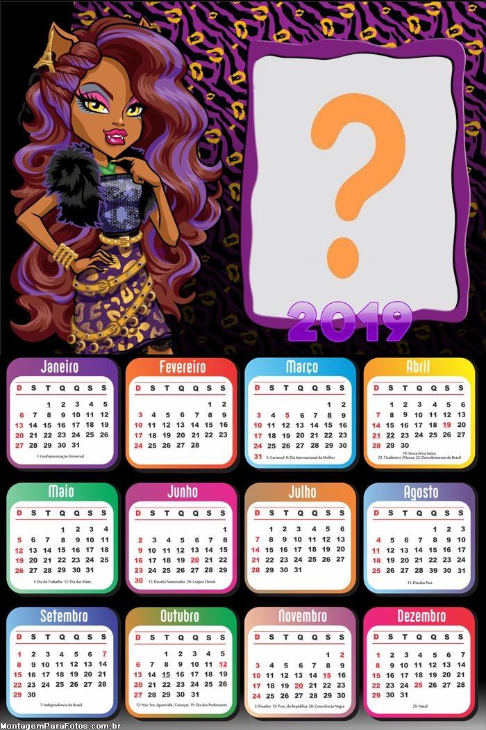 Calendário 2019 Clawdeen da Monster High