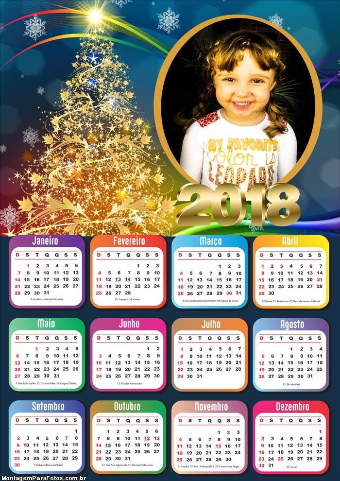 Calendário 2018 Personalizado Dourado
