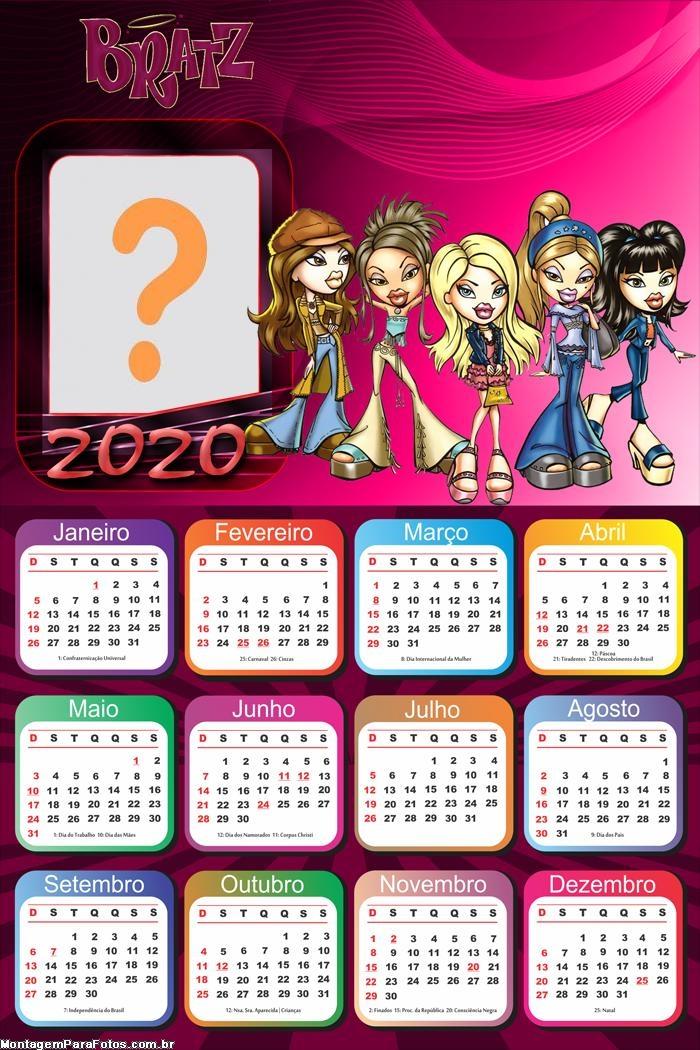 Calendário 2020 Bratz Foto Moldura