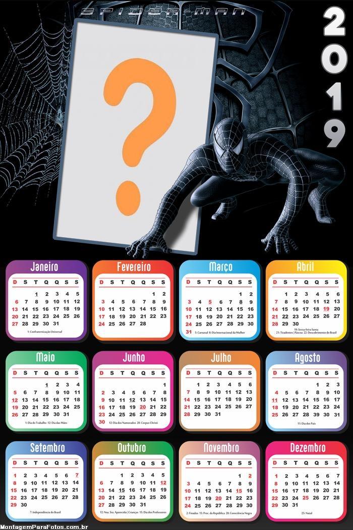 Calendário 2019 Black SpiderMan Marvel