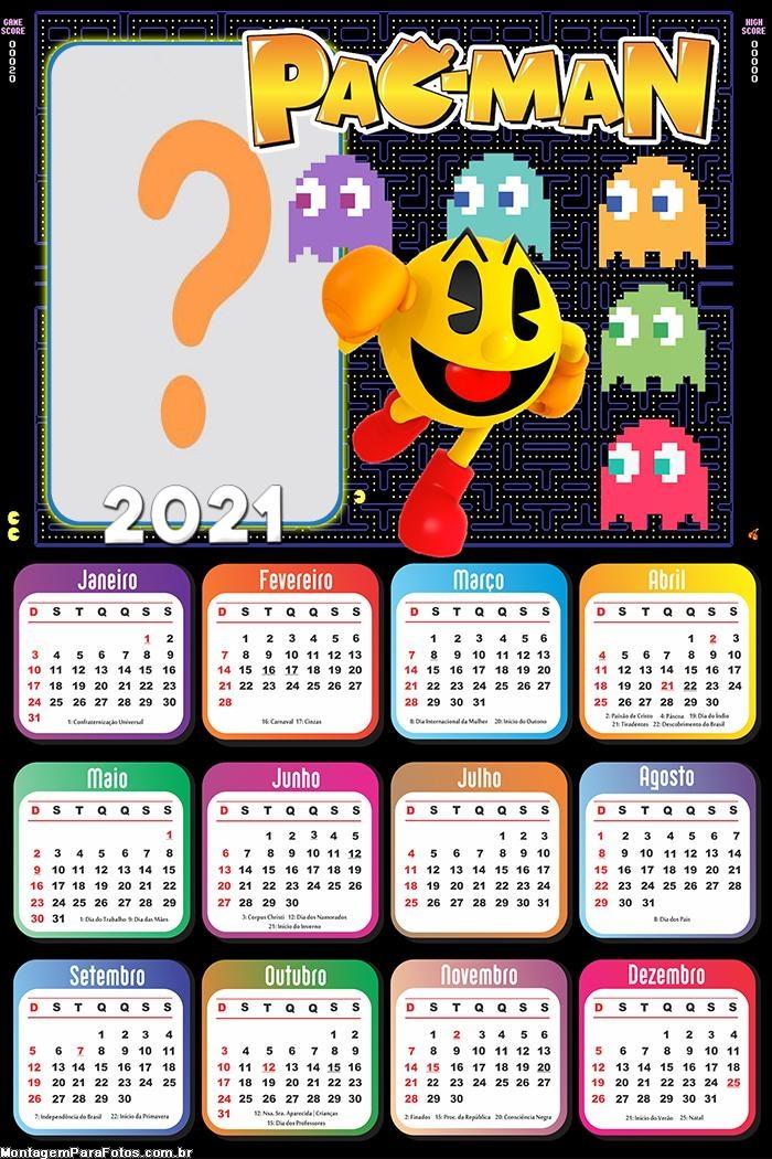 Calendário 2021 Pac Man Montagem de Foto Grátis