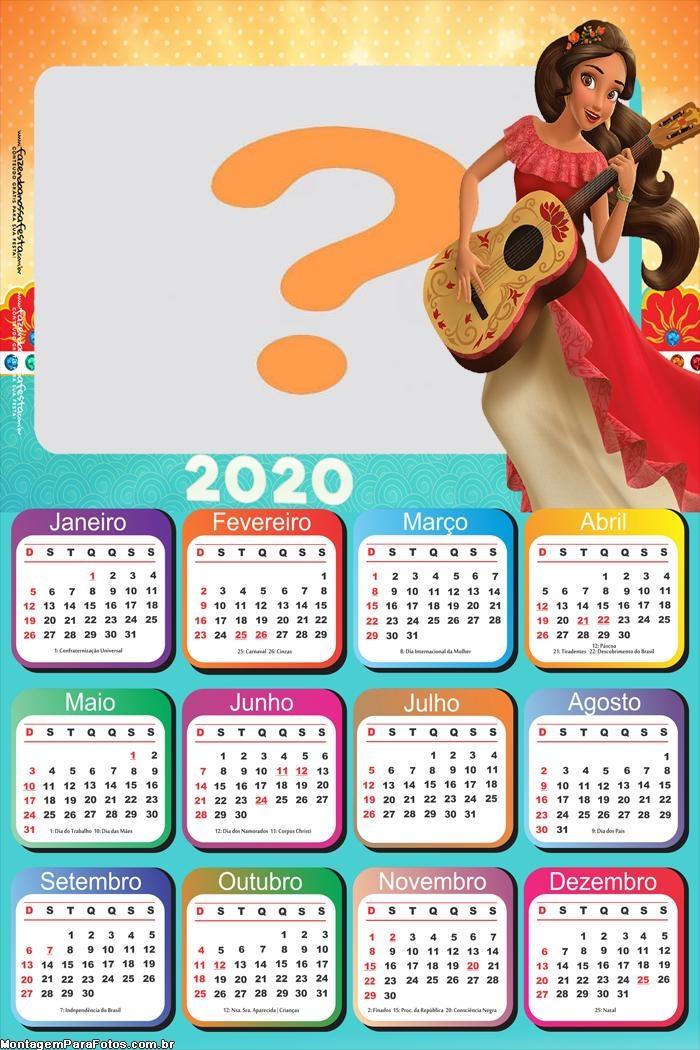 Calendário 2020 Elena de Avalor Moldura