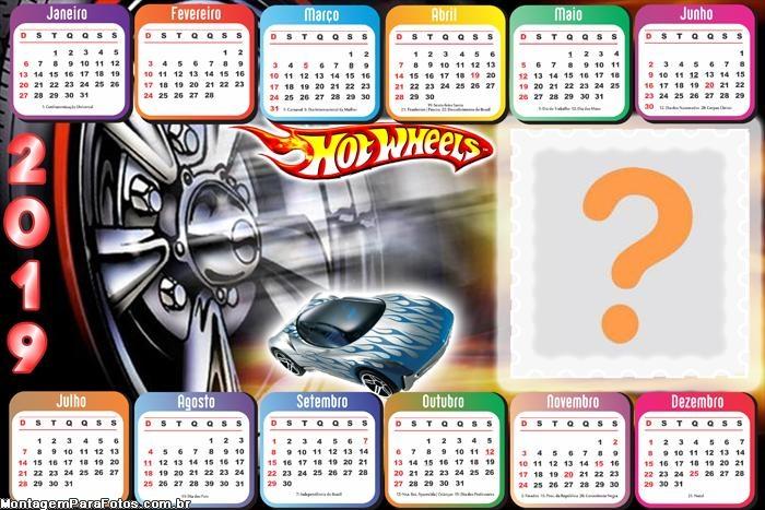 Calendário 2019 Horizontal Hot Wheels
