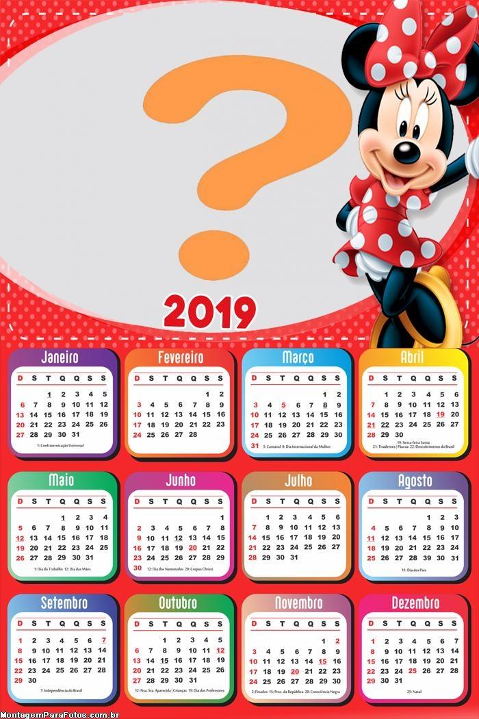 Calendário 2019 Minnie Vermelha