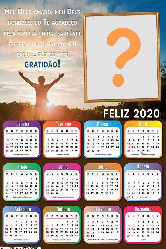 Calendário 2020 Meu Deus Bondoso