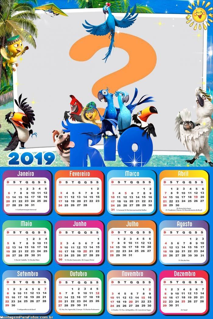Calendário 2019 Duas Fotos Filme Rio