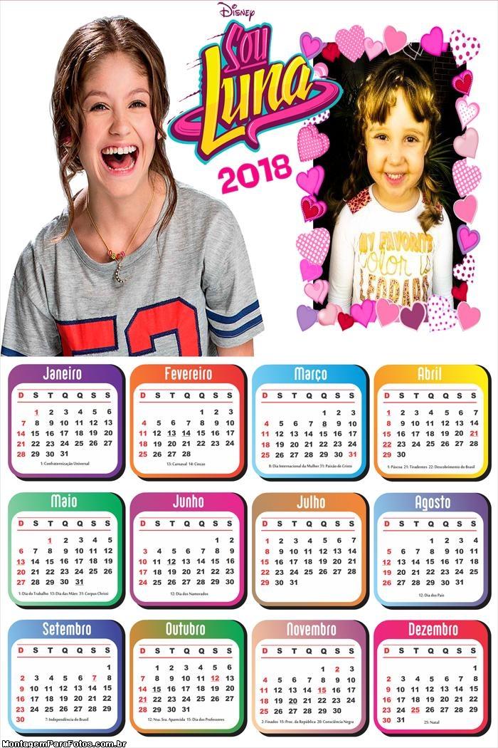 Calendário 2018 Sou Luna
