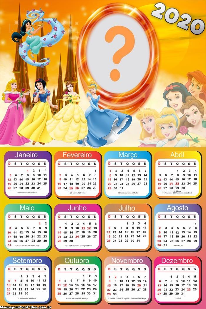 Calendário 2020 das Princesas Disney Moldura