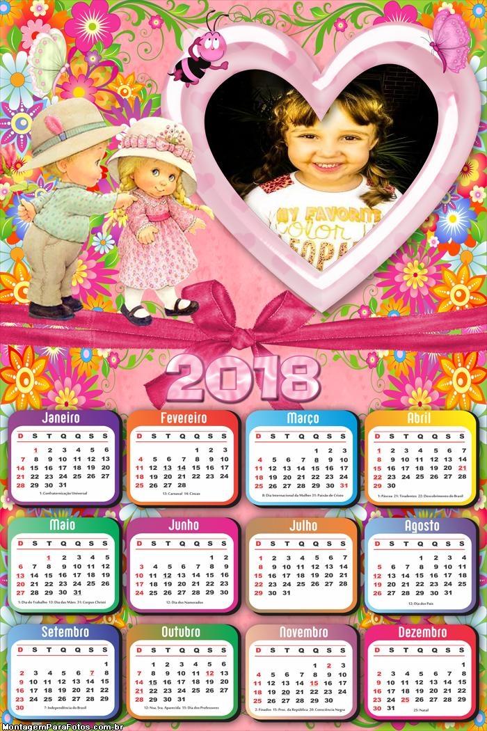Calendário 2018 Infantil Crianças