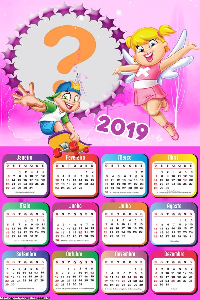 Calendário 2019 da Xuxinha