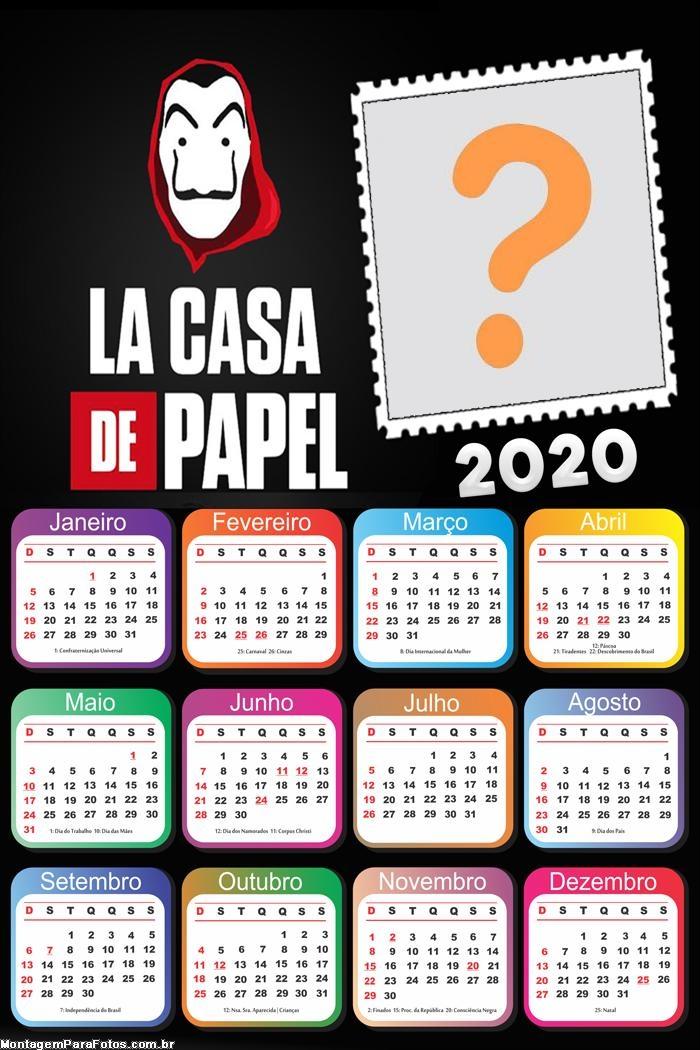 Calendário 2020 La Casa de Papel