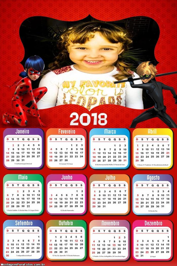 Calendário 2018 Ladybug e Cat Noir