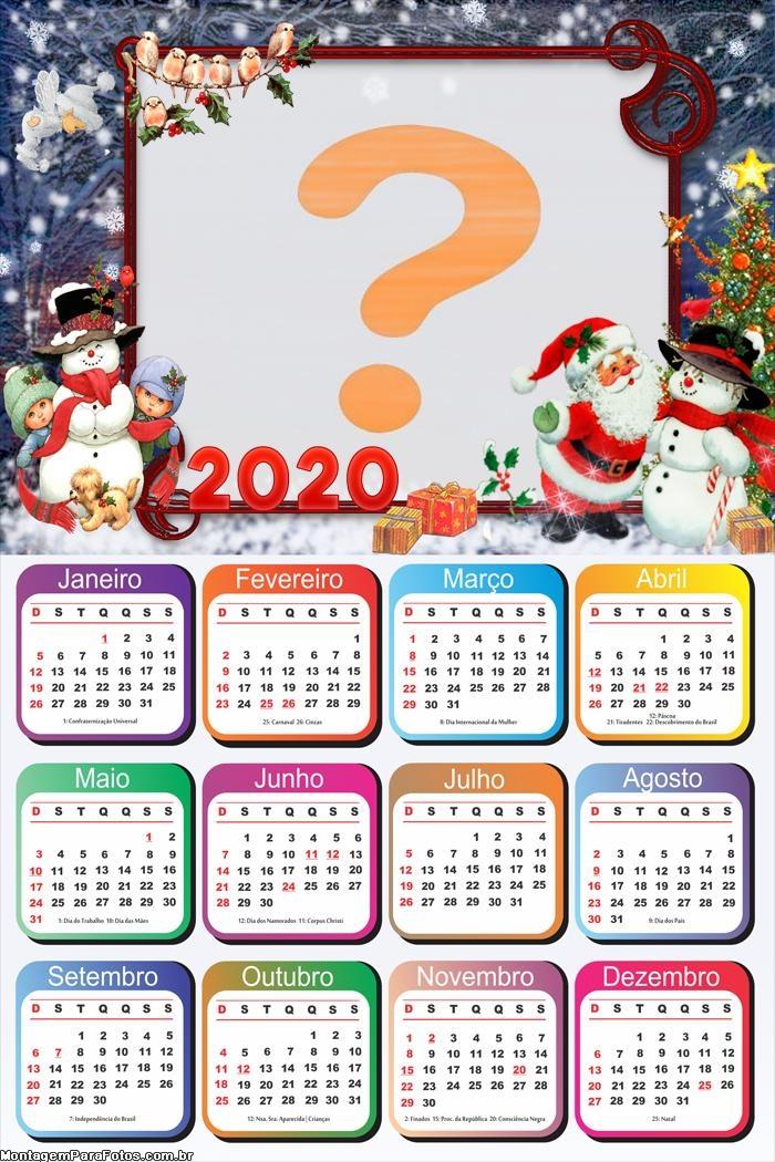Calendário 2020 de Natal Foto Montagem Grátis