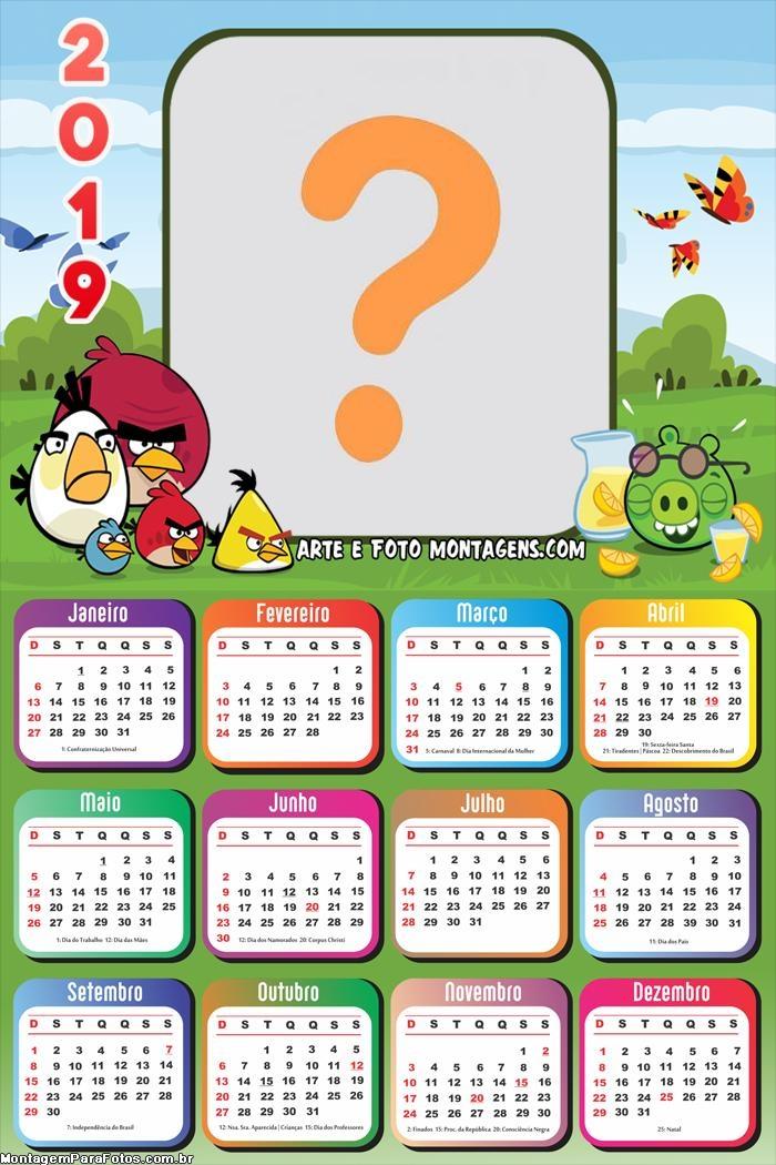 Calendário 2019 Angry Birds