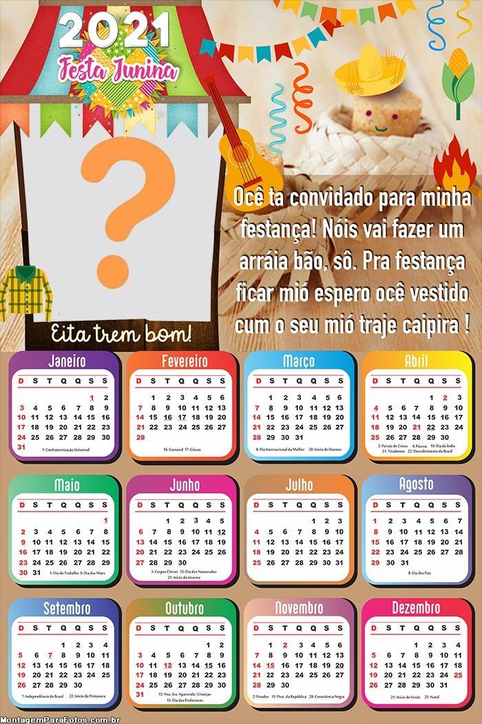 Calendário 2021 Mensagem Festança Junina
