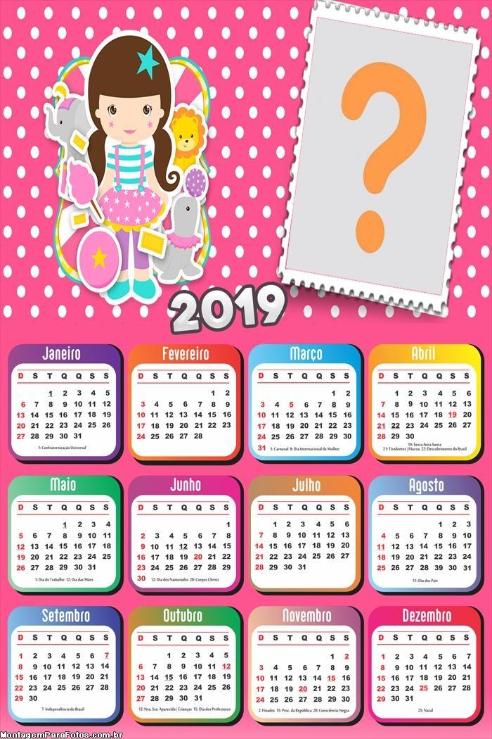 Calendário 2019 Circo Menina