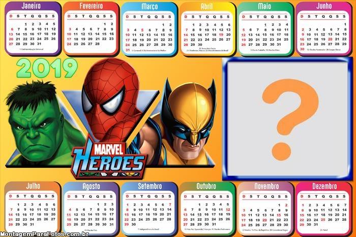 Calendário 2019 Horizontal Heróis Marvel