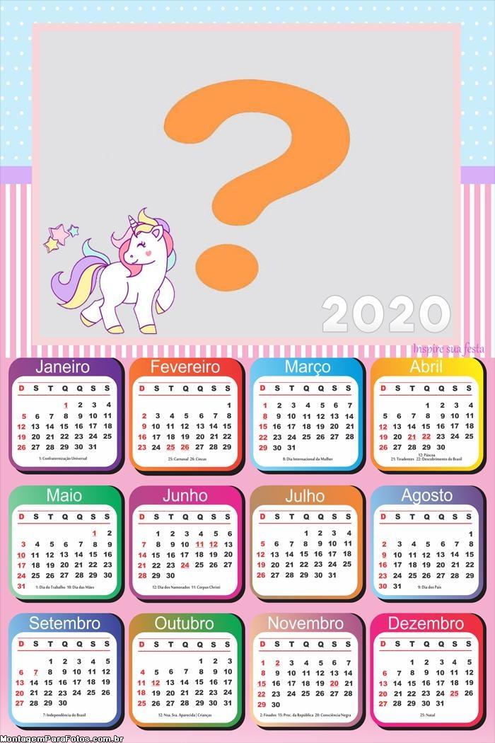 Calendário 2020 de Unicórnios Montagem de Fotos