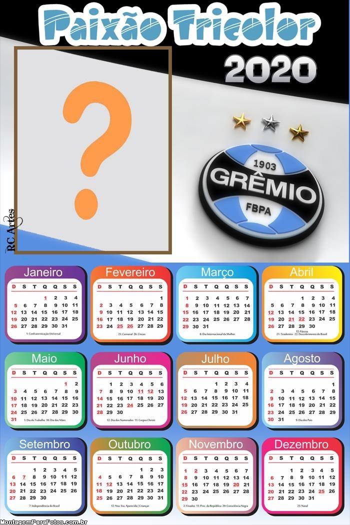 Calendário 2020 Grêmio Foto Montagem Grátis