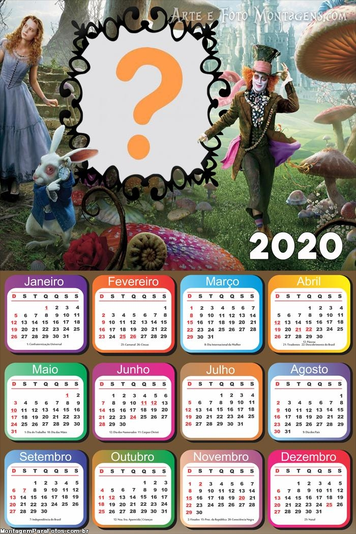 Foto Colagem Calendário 2020 Alice Filme