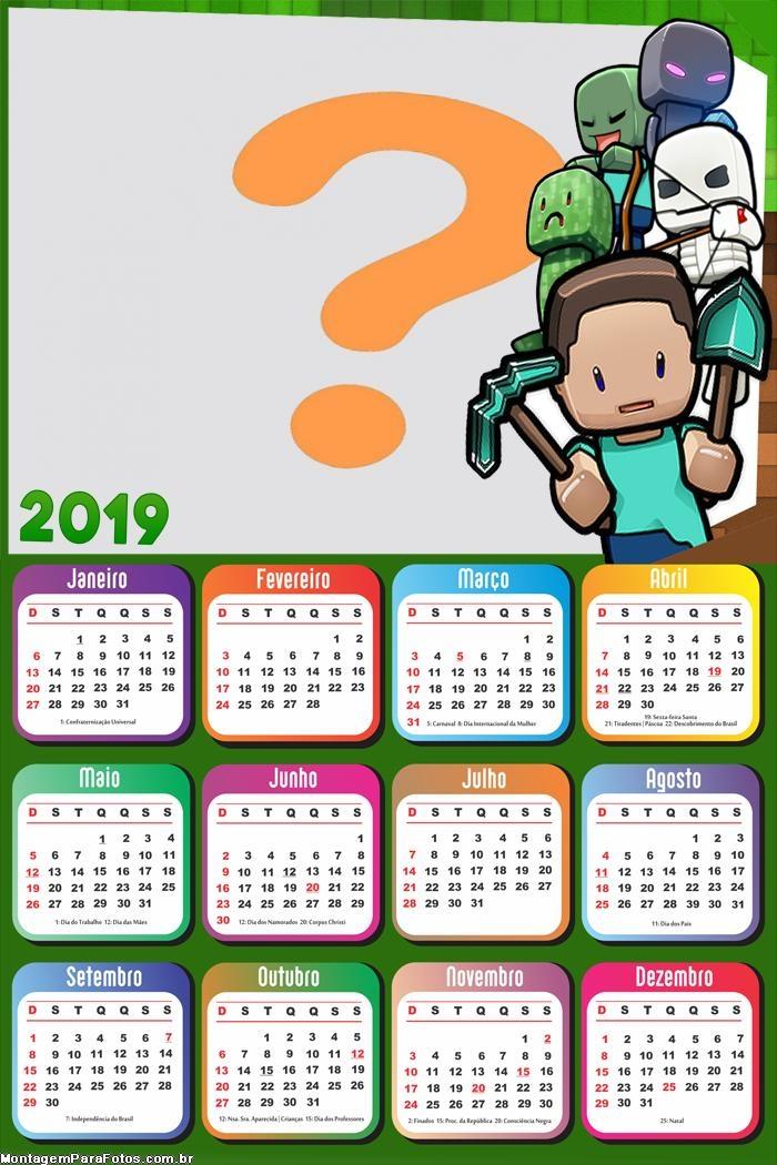 Calendário 2019 Minecraft Exploration