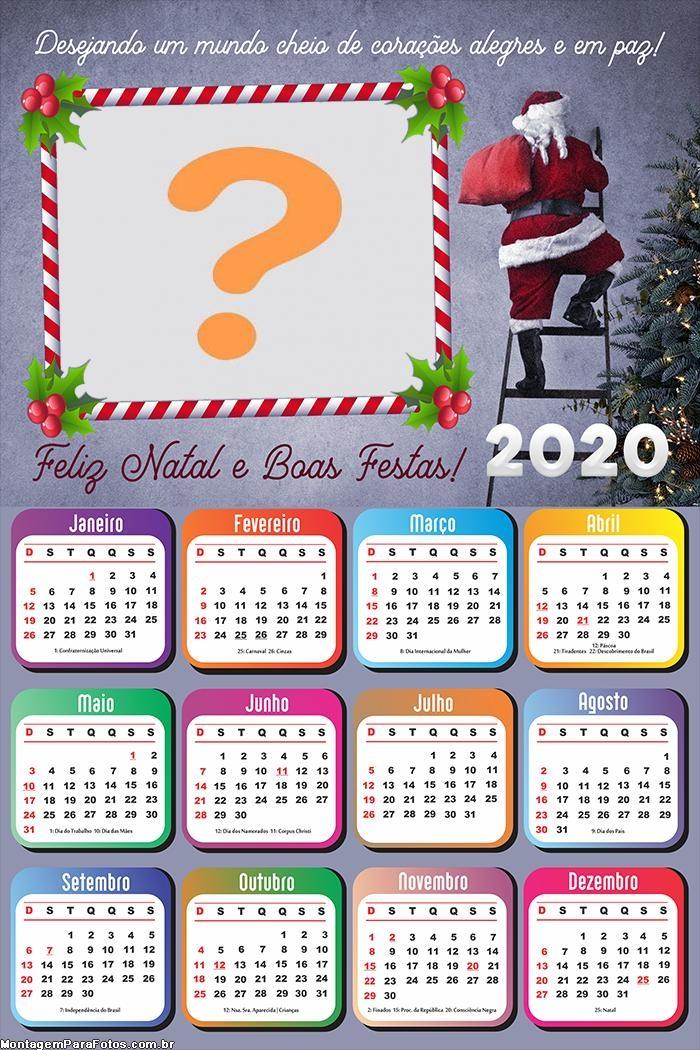 Calendário 2020 Papai Noel na Escada