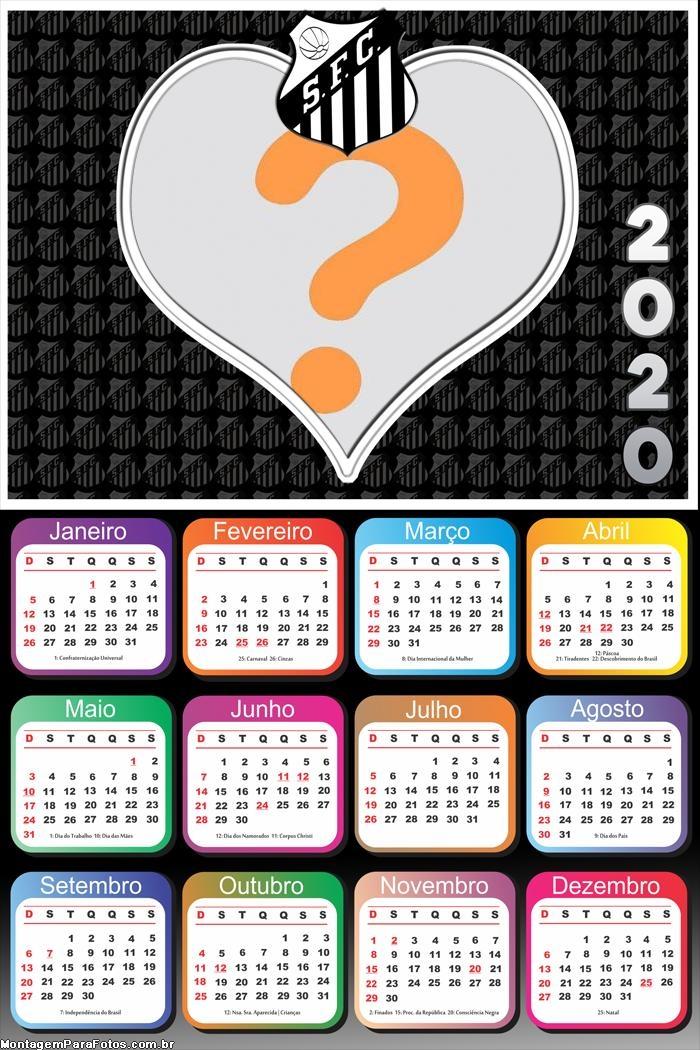 Calendário 2020 do Time Santos Coração