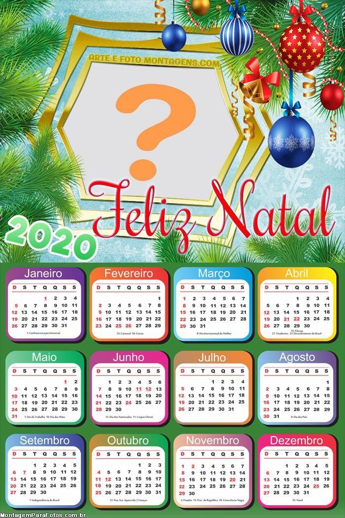 Calendário 2020 Montagem de Fotos Feliz Natal