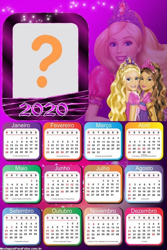 Calendário 2020 Barbie Foto Montagem Grátis
