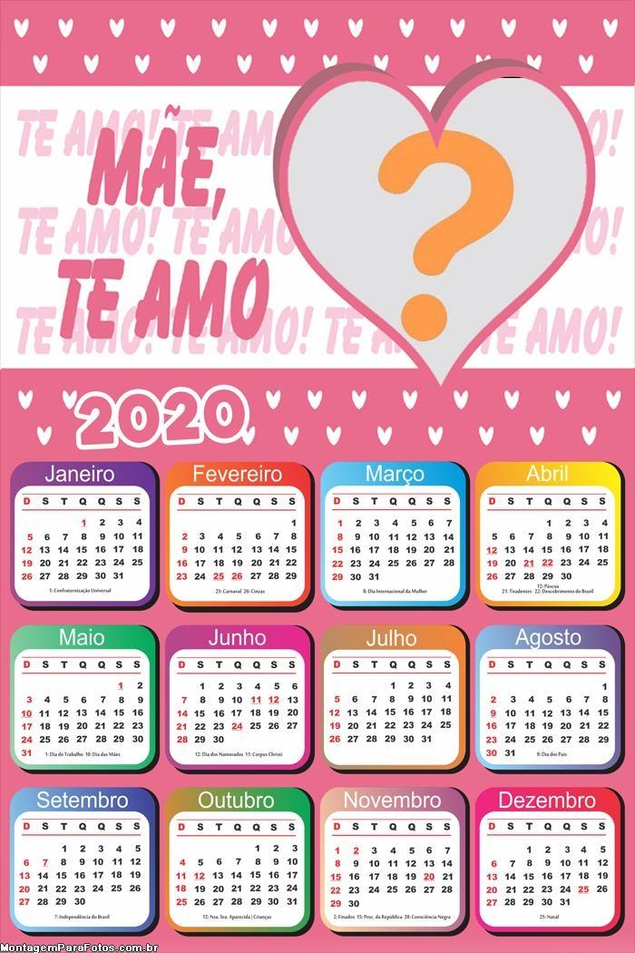 Calendário 2020 Mãe Te Amo