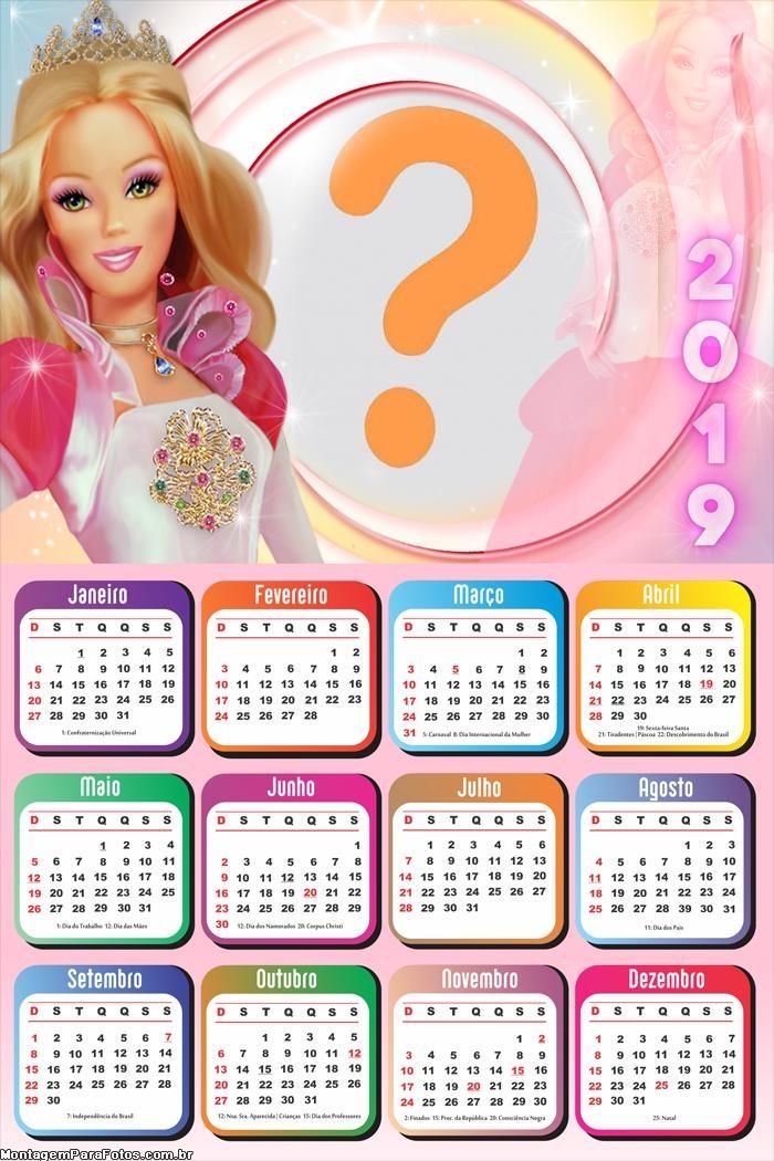 Calendário 2019 Barbie Boneca