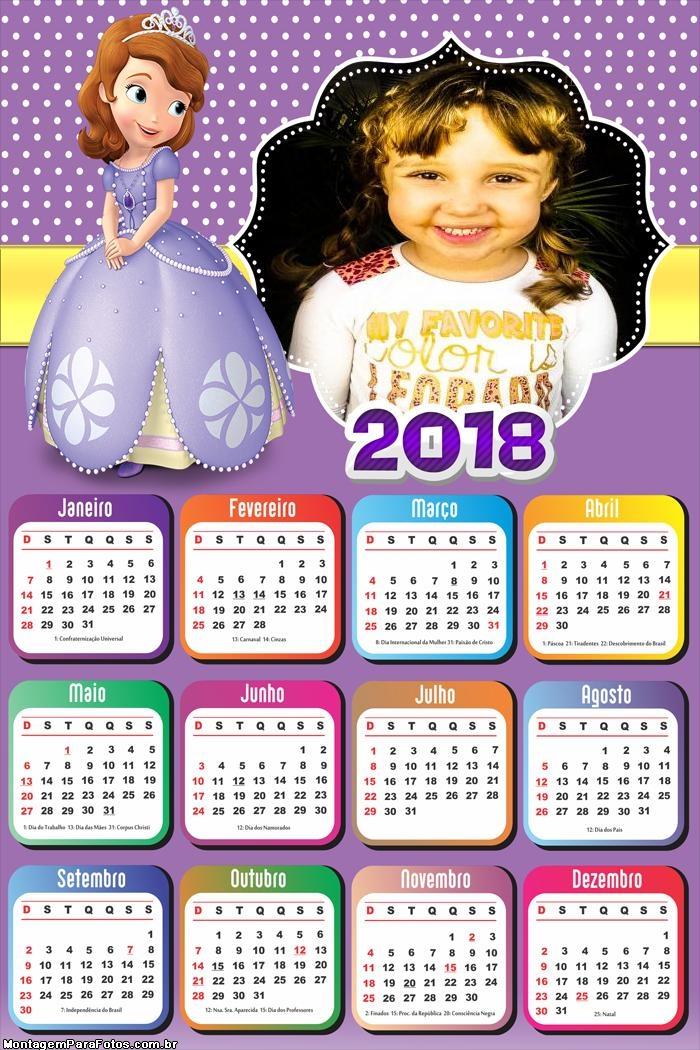 Calendário 2018 Sofia Princesa