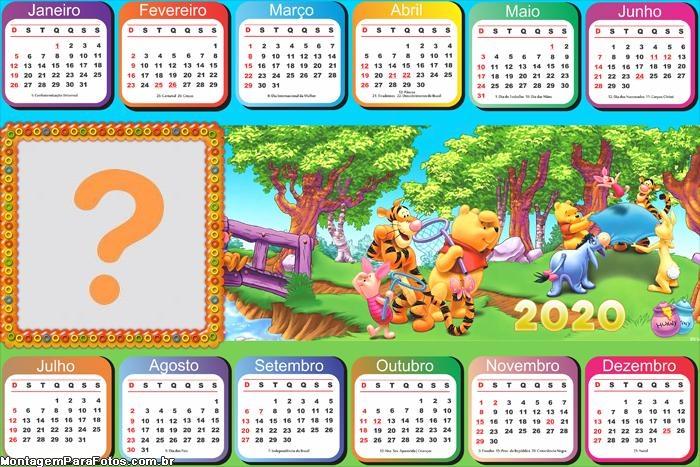 Calendário 2020 Horizontal do Pooh