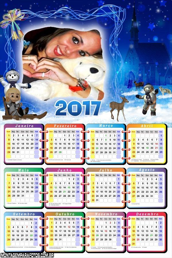 Calendário 2017 Boneco de Neve Natalino na Noite de Natal