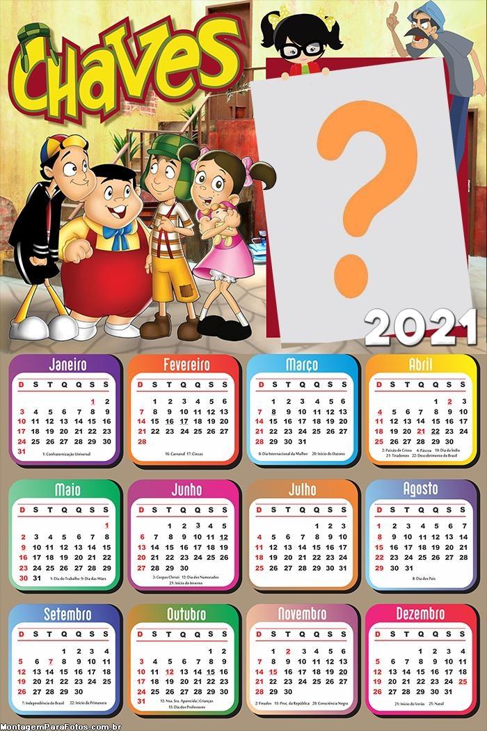 Calendário 2021 Personagens Chaves Desenho Moldura
