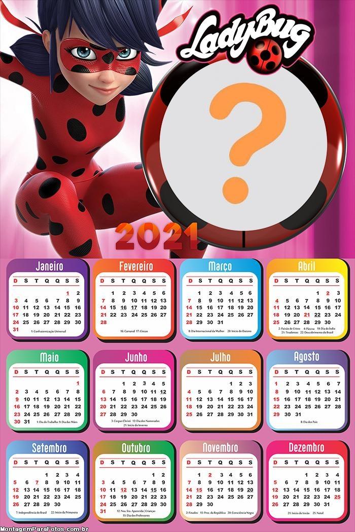 Calendário 2021 LadyBug Boneca para Imprimir