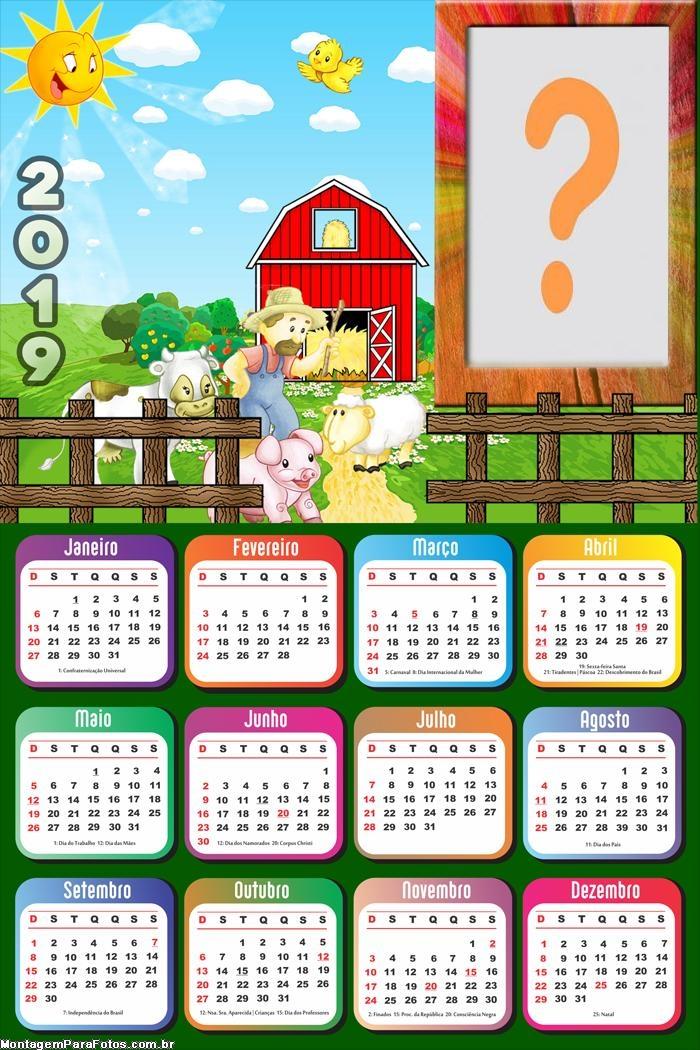 Calendário 2019 Fazenda Infantil