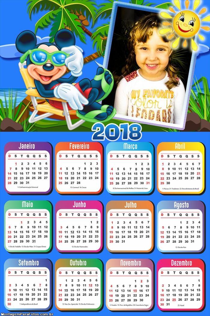 Calendário 2018 Mickey Praia