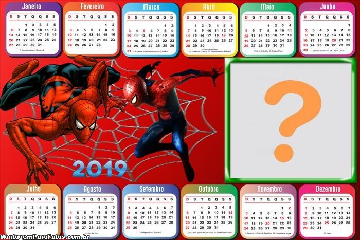 Calendário 2019 Horizontal Homem Aranha