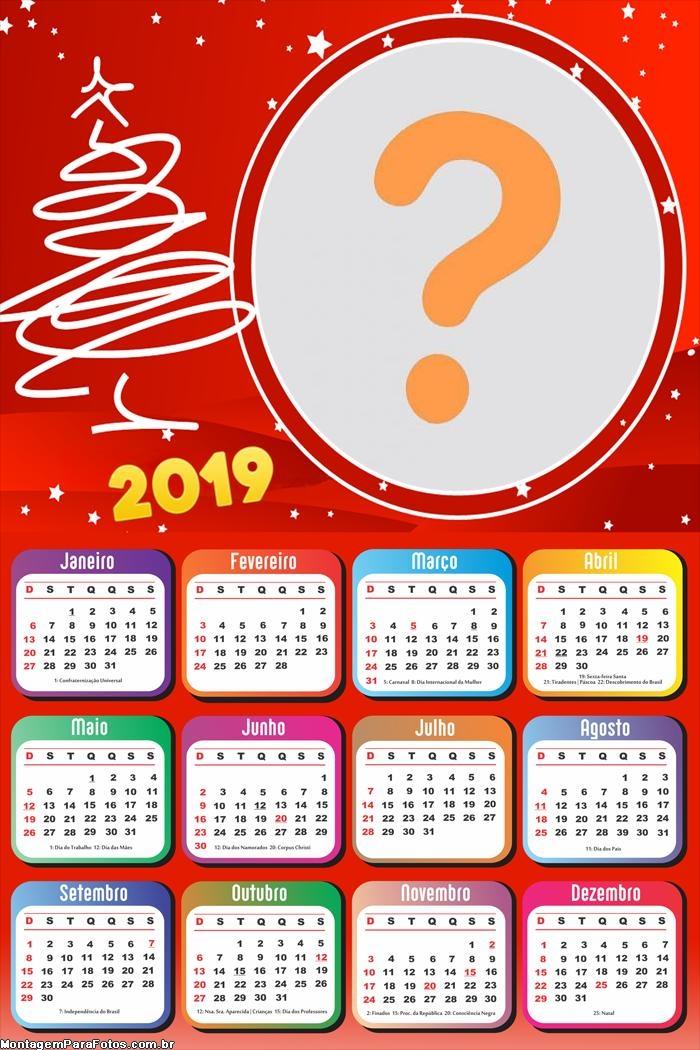 Calendário 2019 Moldura Natal