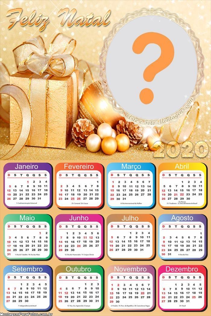 Calendário 2020 Feliz Natal Montagem de Fotos