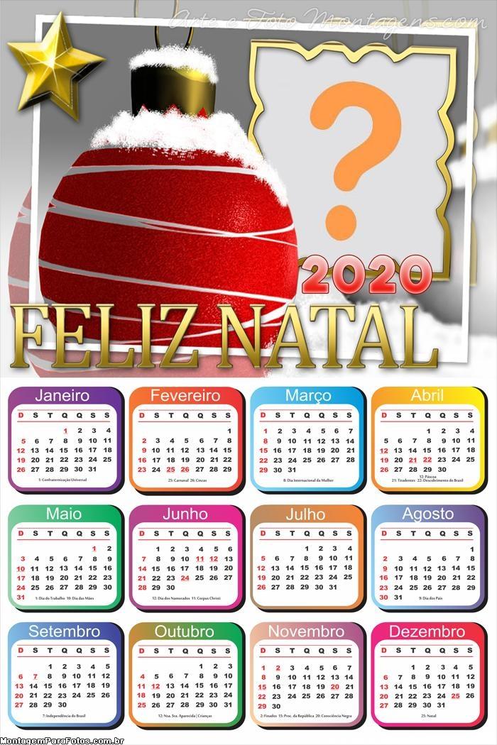Calendário 2020 Online Feliz Natal Montagem