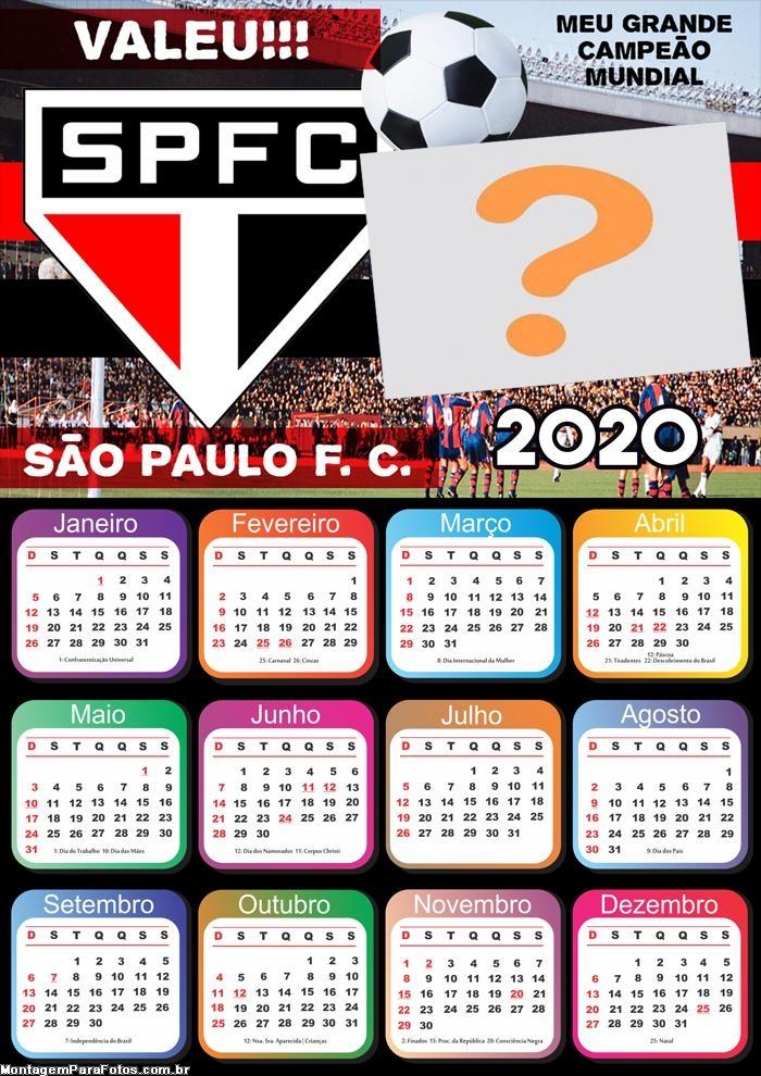 Calendário 2020 do São Paulo Foto Montagem