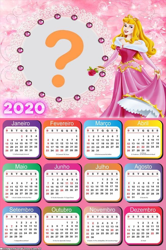 Calendário 2020 Aurora Princesa da Disney