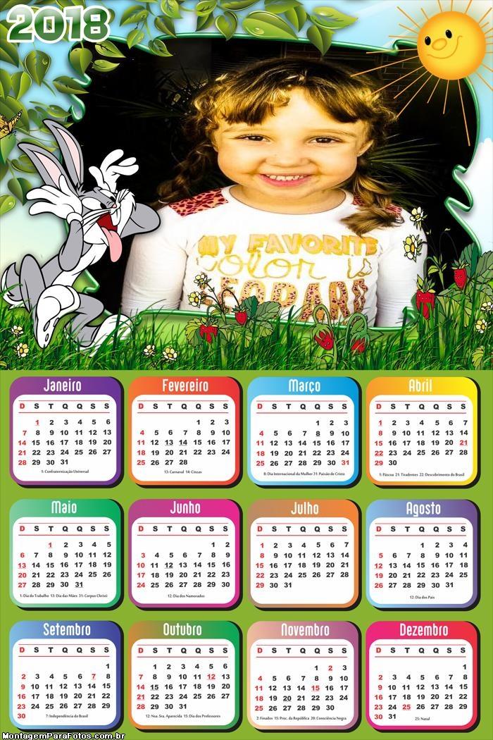 Calendário 2018 do Coelho Pernalonga