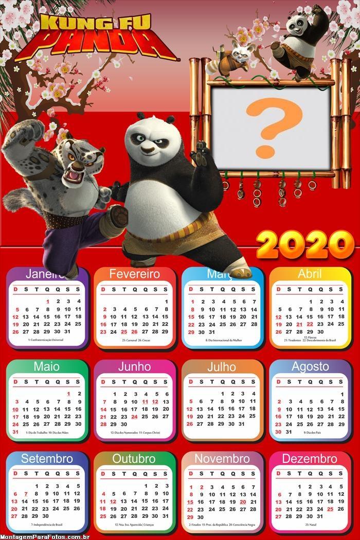 Calendário 2020 Kung Fu Panda Moldura Digital
