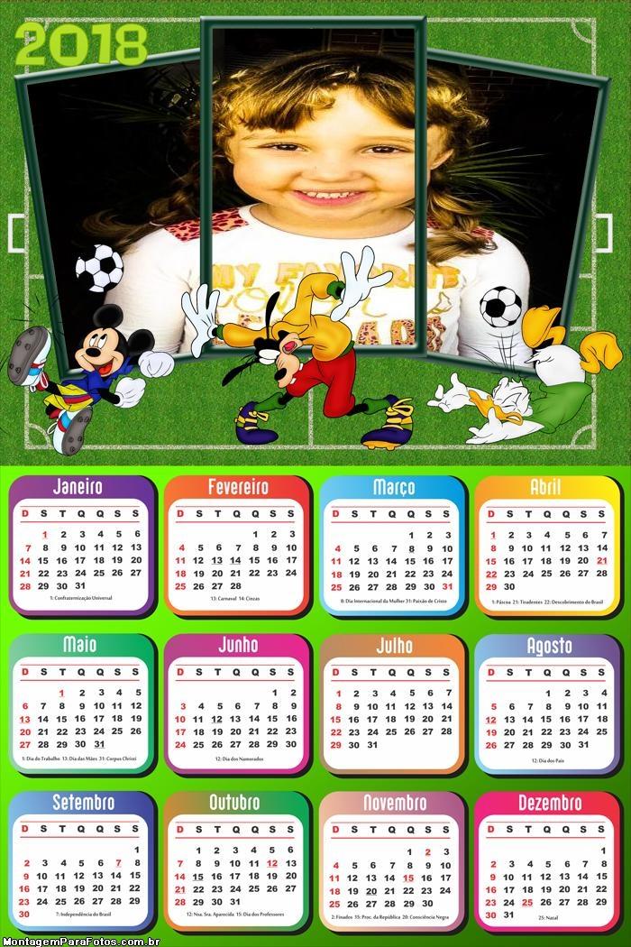 Calendário 2018 Futebol Disney Infantil