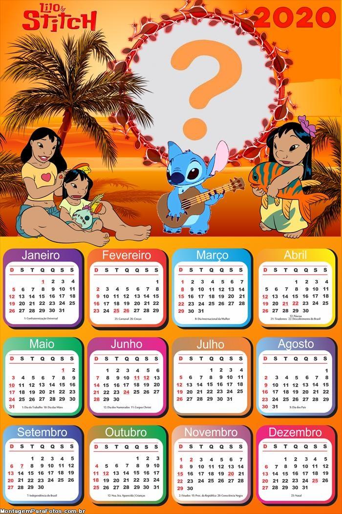 Calendário 2020 Lilo e Stitch Foto Moldura Digital