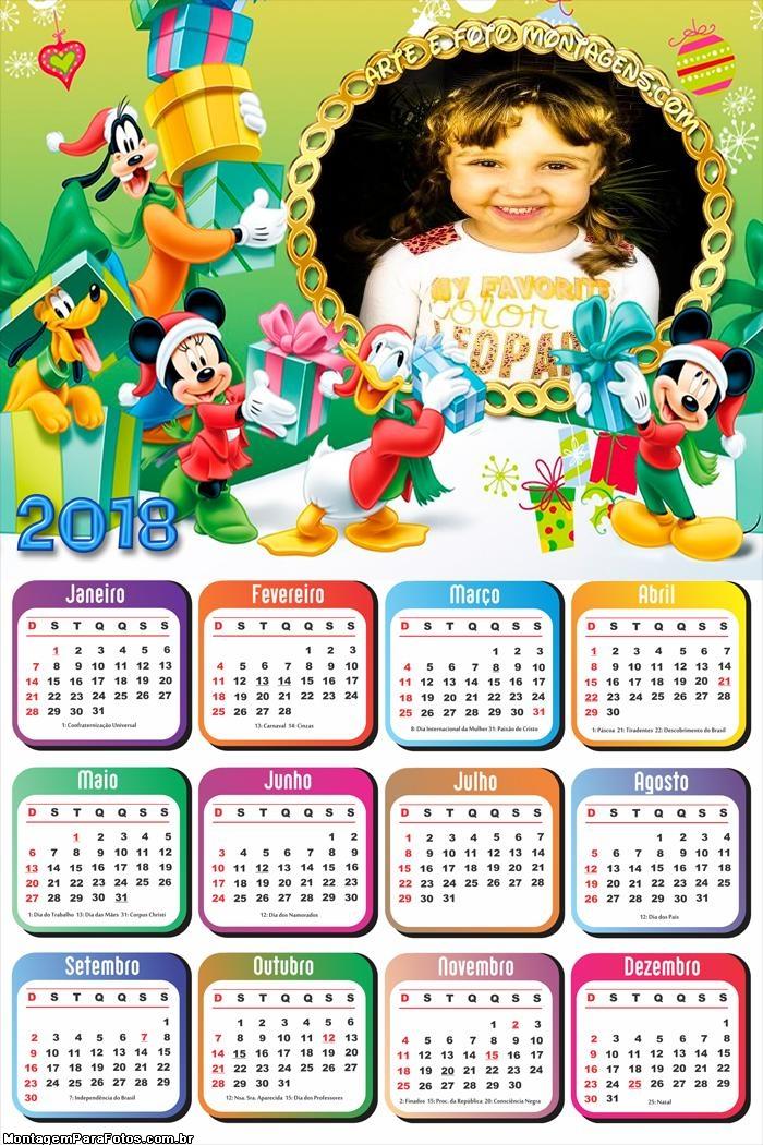 Calendário 2018 Feliz Natal Disney
